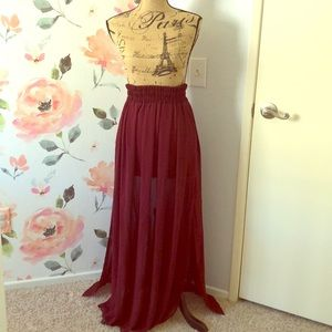 Burgundy high waist maxi skirt